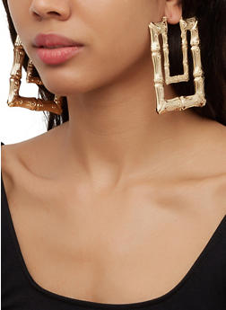 Rectangular Metallic Bamboo Earrings - 3122057692658