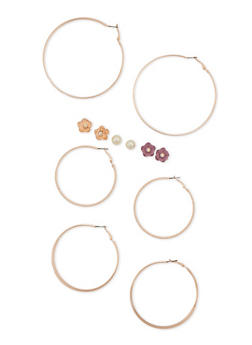 6 Flower Stud and Hoop Earrings Set - 3122057694042