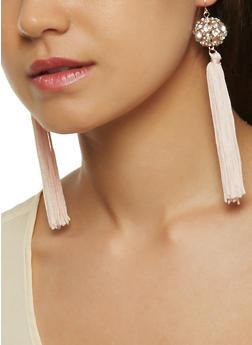 Rhinestone Tassel Drop Earrings - 3122057694414