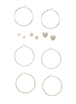 Set of 6 Multi Textured Stud and Hoop Earrings - 3122057694544