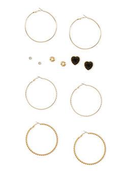 Set of 6 Multi Textured Earrings - 3122057694545