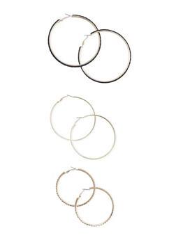 Set of 3 Rhinestone Glitter and Braided Hoop Earrings - 3122057694665