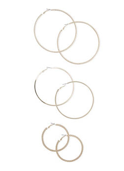 Trio of Hammered Smooth and Etched Hoop Earrings - 3122057695431