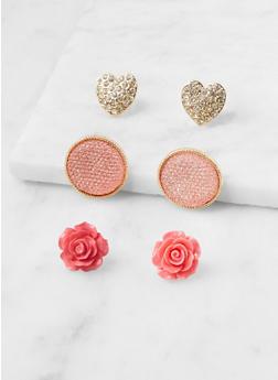 Set of 3 Oversized Stud Earrings - 3122057695949