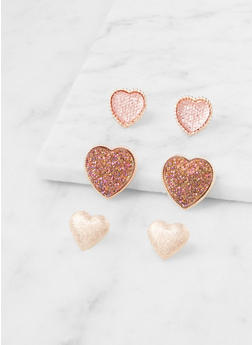 Trio of Rhinestone Metallic Stud Earrings - 3122057695951