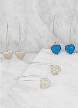 Heart Threader Earrings - 3122057696100