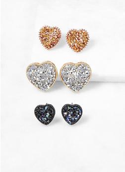 Rhinestone Heart Earring Trio - 3122057696110