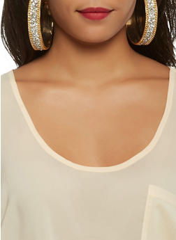 Chain Druzy Thick Hoop Earrings - 3122057696190
