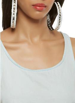 Oversized Metallic Glitter Hoop Earrings - 3122057696274