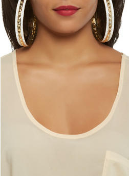 Oversized Metallic Glitter Hoop Earrings - 3122057696274