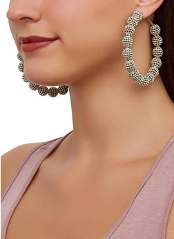 Beaded Ball Hoop Earrings - 3122057699294