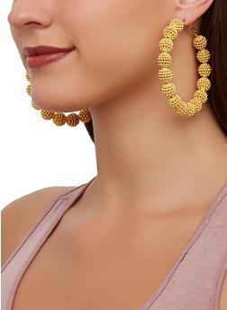 Beaded Ball Hoop Earrings - 3122057699294