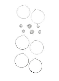 Rhinestone Stud and Hoop Earrings - 3122059631068