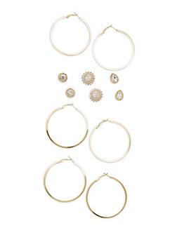 Rhinestone Stud and Hoop Earrings Set - 3122059631068