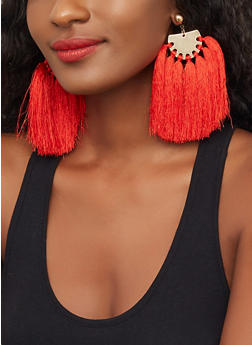 Metallic Half Circle Tassel Earrings - 3122059632051