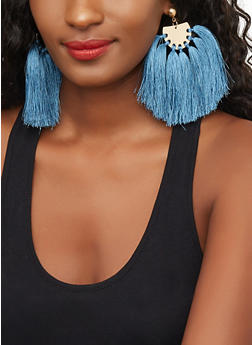 Metallic Half Circle Tassel Earrings - 3122059632051