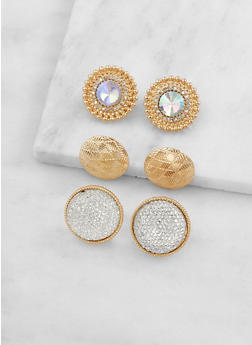 Oversized Stud Earring Trio - 3122059636948