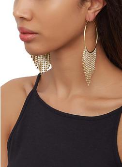 Rhinestone Fringe Hoop Earrings | 3122059637299 - 3122059637299