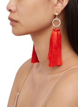 Rhinestone Circle Tassel Earrings - 3122059639569
