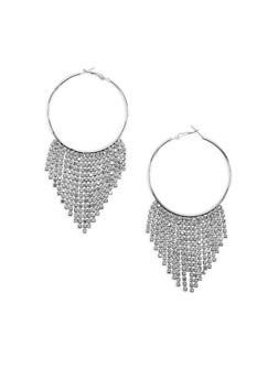 Rhinestone Fringe Hoop Earrings - 3122059639927
