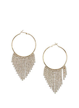 Rhinestone Fringe Hoop Earrings - 3122059639927