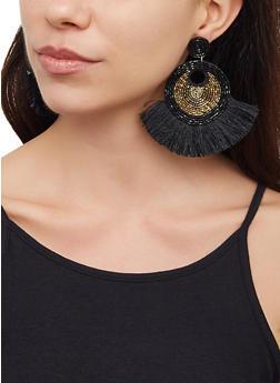 Fringe Beaded Drop Earrings - 3122062810001