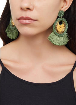 Fringe Beaded Drop Earrings - 3122062810001