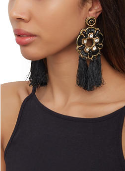 Beaded Tassel Disc Earrings - 3122062810056