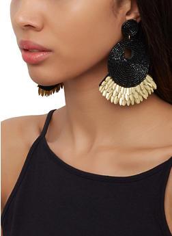 Beaded Metallic Felt Earrings - 3122062810214