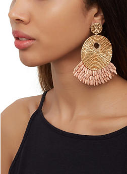 Beaded Metallic Felt Earrings - 3122062810214