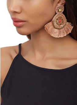 Beaded Fringe Felt Earrings - 3122062810810