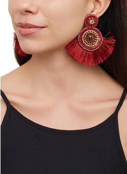 Beaded Fringe Felt Earrings - 3122062810810