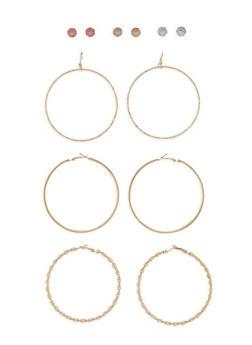 Metallic Hoop and Rhinestone Stud Earrings - 3122062811405