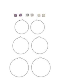 Stud and Glitter Hoop Earring Set - 3122062811509