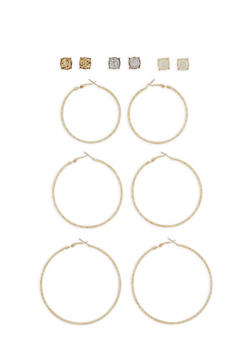 Stud and Glitter Hoop Earring Set - 3122062811509