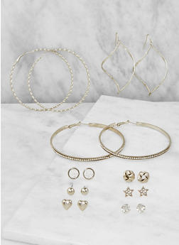 Set of 9 Assorted Earrings - 3122062811589