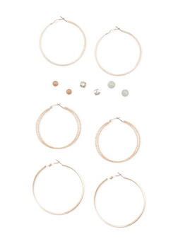 Set of 6 Assorted Hoop and Rhinestone Stud Earrings - 3122062812108
