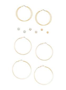 Set of 6 Assorted Hoop and Rhinestone Stud Earrings - 3122062812108
