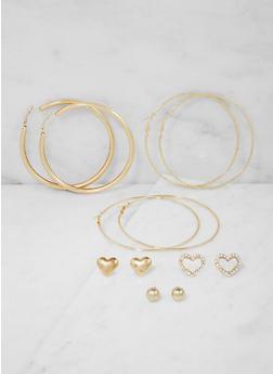 Set of 6 Assorted Hoop and Stud Earrings - 3122062812815