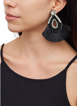 Rhinestone Beaded Fringe Drop Earrings - 3122062814058