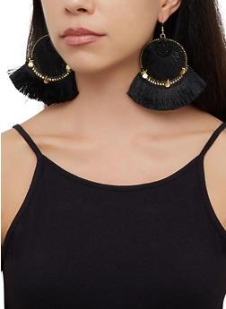Beaded Thread Fringe Drop Earrings - 3122062814059