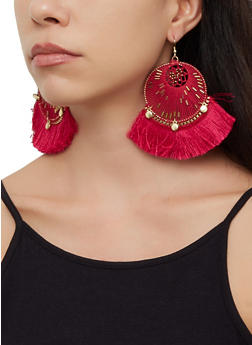 Beaded Thread Fringe Drop Earrings - 3122062814059