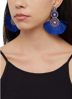 Beaded Triple Disc Fringe Earrings - 3122062815141