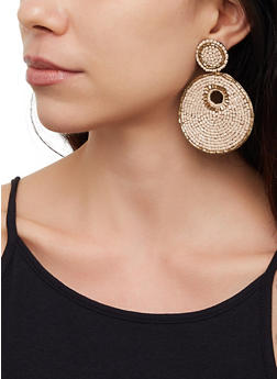 Beaded Disc Drop Earrings - 3122062815656