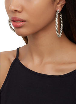 Rhinestone Wrapped Hoop Earrings - 3122062816519