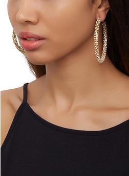Rhinestone Wrapped Hoop Earrings - 3122062816519