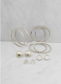 Assorted Set of Stud and Hoop Earrings - 3122062817269
