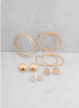 Assorted Set of Stud and Hoop Earrings - 3122062817269