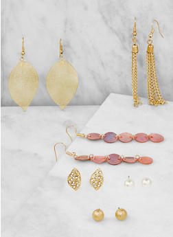 Set of 6 Assorted Drop and Stud Earrings - 3122062817274