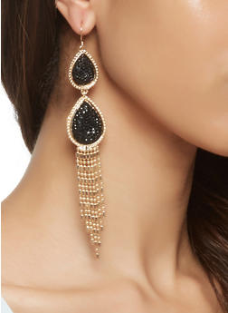 Rhinestone Fringe Drop Earrings - 3122062819026